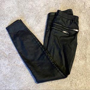 Zara Leara Woman Faux Leather Zipper Black Pants 2